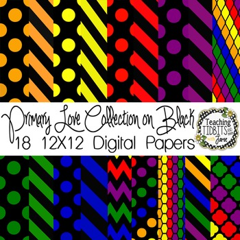 Digital Papers - Primary Colors on Black {Personal and Commercial Use}
