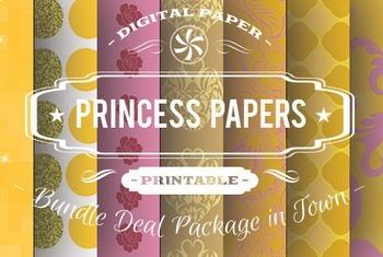 Digital Papers - Princess Patterns Bundle Deal