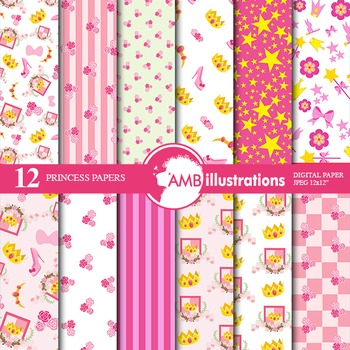 Digital Papers, Princess digital paper and backgrounds AMB-905
