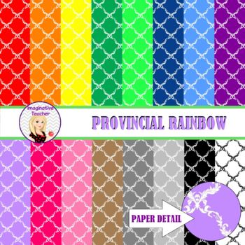 Digital Papers - Provincial Rainbow