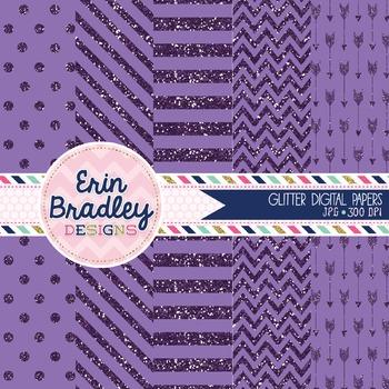 Digital Papers - Purple Glitter
