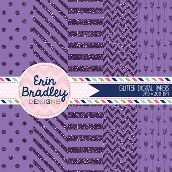 Digital Papers - Purple Glitter