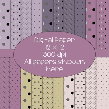 Digital Papers - Purple, Mauve, Gold, and Pale Pink - 300 dpi - polka dot