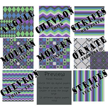 Digital Papers-Purple Peacock {Green, Blue, Gray, 300dpi, 12x12}