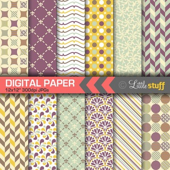 Digital Papers, Purple Yellow & Blue Digital Backgrounds