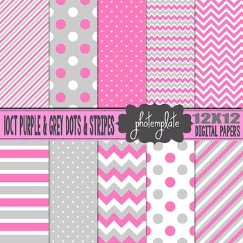 Digital Papers: Purple and Grey Dots and Stripes Scrapbooking Paper