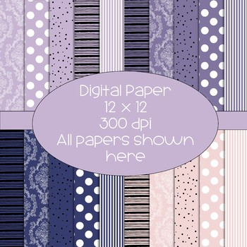 Digital Papers - Purples and Pale Pink - 300 dpi - polka dot/damask/stripes