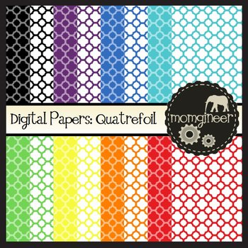 Digital Papers: Quatrefoil Pattern in Bold Colors (Commercial Use Graphics)