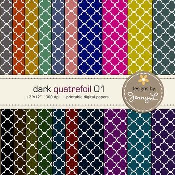 Digital Papers : Quatrefoils Dark