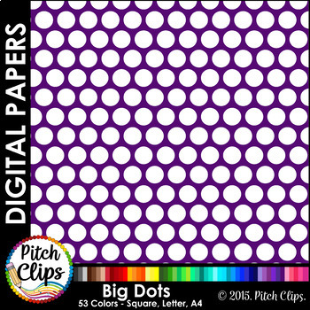 "Digital Papers: RAINBOW BRIGHTS - Big Dots - 38 Colors, 12"" & letter"