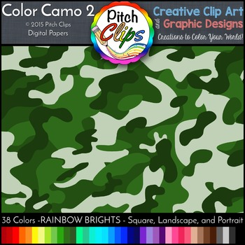 Digital Papers: RAINBOW BRIGHTS - Camo 2 - 38 Colors