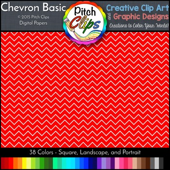 "Digital Papers: RAINBOW BRIGHTS - Chevron Basic -  38 Colors, 12"" & letter size"