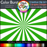"Digital Papers: RAINBOW BRIGHTS - Color Burst - 38 Colors, 12"" & letter"