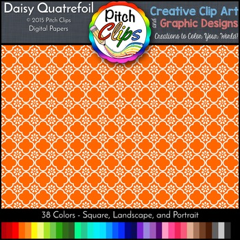 "Digital Papers: RAINBOW BRIGHTS - Daisy Quatrefoil - 38 Colors, 12"" & letter"
