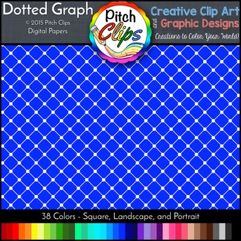 """Digital Papers: RAINBOW BRIGHTS - Dotted Graph - 38 Colors, 12"""" & letter"""