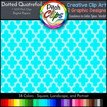 "Digital Papers: RAINBOW BRIGHTS - Dotted Quatrefoil - 38 Colors, 12"" & letter"
