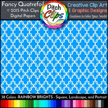 Digital Papers: RAINBOW BRIGHTS - Fancy Quatrefoil - 38 Colors