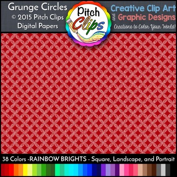 Digital Papers: RAINBOW BRIGHTS - Grunge Circles - 38 Colors