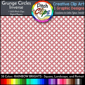 Digital Papers: RAINBOW BRIGHTS - Grunge Circles INVERSE - 38 Colors