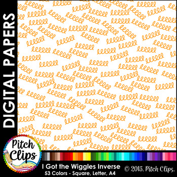 Digital Papers: RAINBOW BRIGHTS - I Got the Wiggles INVERSE - 38 Colors