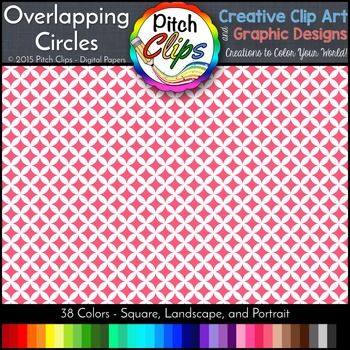 "Digital Papers: RAINBOW BRIGHTS - Overlapping Circles - 38 Colors, 12"" & letter"