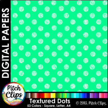 "Digital Papers: RAINBOW BRIGHTS - Textured Dots - 38 Colors, 12"" & letter"