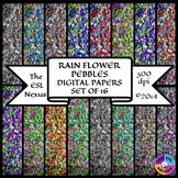 Rain Flower Pebbles Digital Papers
