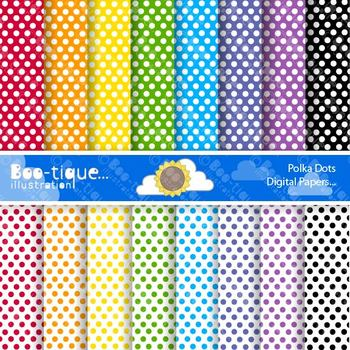 Digital Papers- Rainbow Polka Dot Digital Scrapbooking Papers.