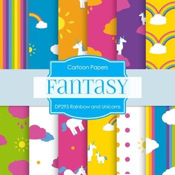 Digital Papers - Rainbow-and-Unicorns (DP293)