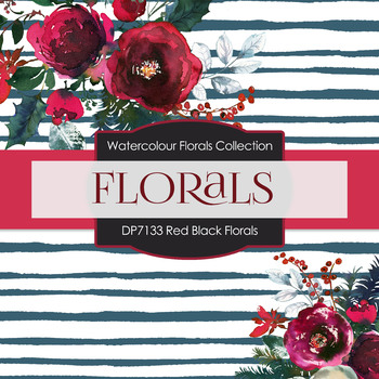 Digital Papers - Red Black Florals (DP7133)