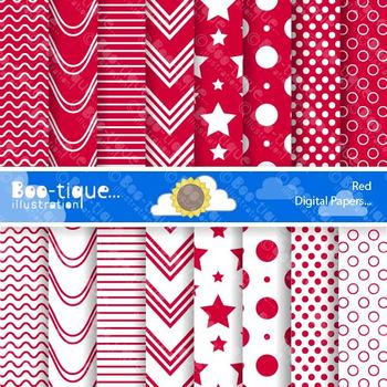 Digital Papers- Red Digital Scrapbooking Papers. Polka dots