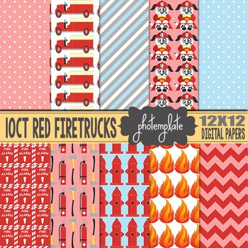 Digital Papers: Red Firetrucks Scrapbooking Paper