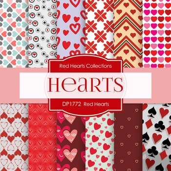 Digital Papers - Red Hearts (DP1772)