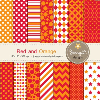 Digital Papers : Red and Orange colors