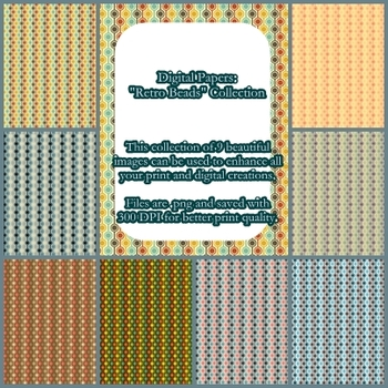Digital Papers Retro Beads Collection