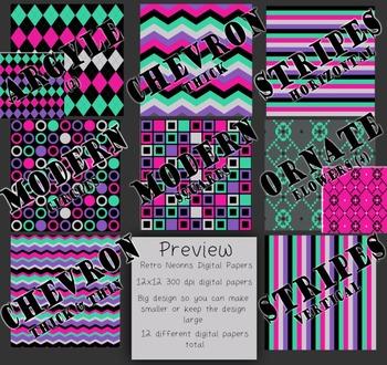 Digital Papers-Retro Neons {Black, Gray, Mint Green, Pink, Purple 300dpi, 12x12}