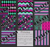 Digital Papers-Retro Neons {Black, Gray, Mint Green, Pink,