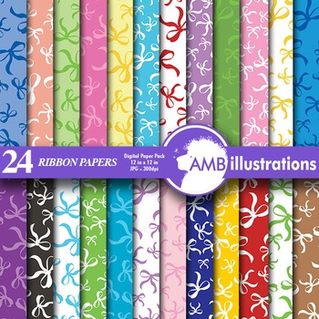 Digital Papers- Ribbons and Bows scrapbook papers and backgrounds, AMB-558