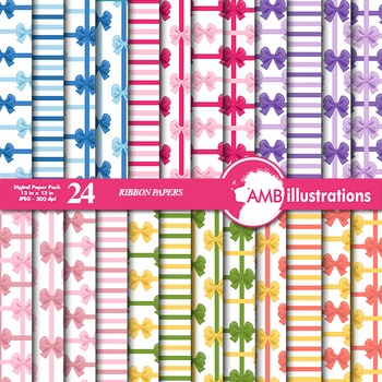Digital Papers- Ribbons and Bows scrapbook papers and backgrounds, AMB-970