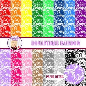 Digital Papers - Romantique Rainbow