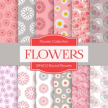 Digital Papers - Round Flowers (DP4212)