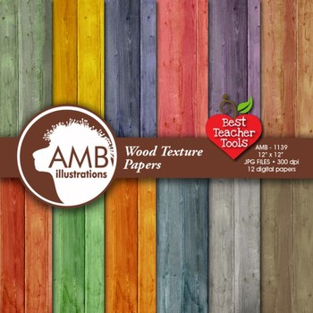 Digital Papers - Rustic Wood, Shabby Chic,Wood Grain, back