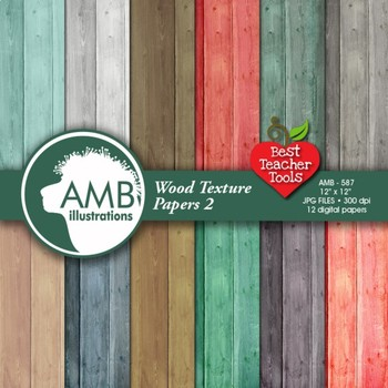 Digital Papers - Rustic Wood, Shabby Chic,Wood Grain, background AMB-587