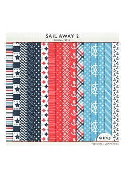 """Digital Papers - """"Sail Away 2"""" Nautical Themed Blue and Red"""