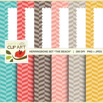 "Digital Papers & Scallop Bordered Backgrounds Set ""The Beach"": Clip Art"