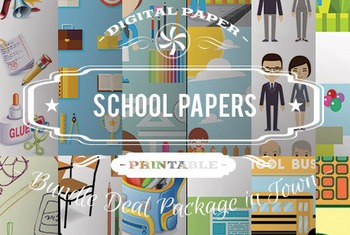 Digital Papers - School Patterns Bundle Deal