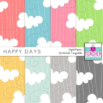 Digital Papers Set: Happy Clouds Theme