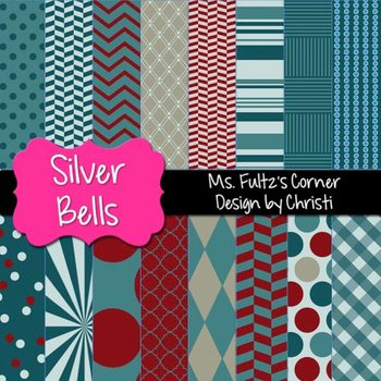Digital Papers: Silver Bells in Blue, Red, Gray, Cream