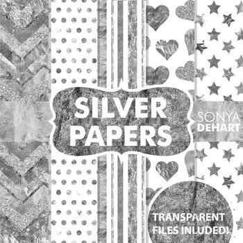 Digital Papers -  Silver Foil Metallic Glitter Paper