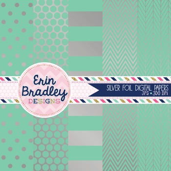 Digital Papers - Silver Foil and Aqua